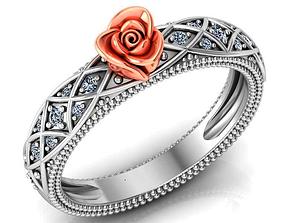 Rose Ring Flower with stones 26 3D print model