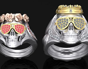 Rings with Couple skulls 3D print model