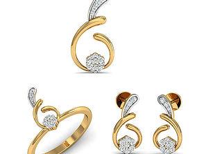 Rhino 3D CAD File Jewelry Set Ring Pendant Earring 2