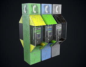 Payphone Dirty different colors 3D asset