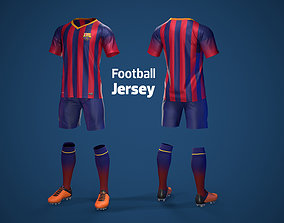 3D model Football Jersey full outfit Barcelona