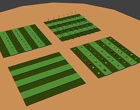 Low Poly Farm Fields 3D asset