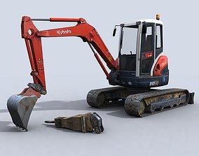 Mini Excavator 3D model realtime