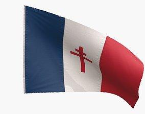 Free France Flag 3D asset