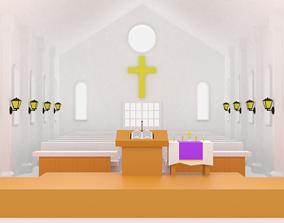 3D model Cartoon Church Interior