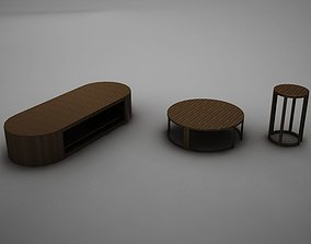 wood coffe table collection 3D asset
