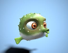 3D asset cartoon fugu fish
