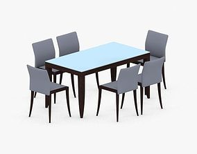 0734 - Table and Chairs Set 3D asset