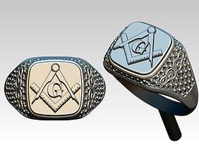 Masonic Ring Logo Symbol Man Jewel 3D printable model 1