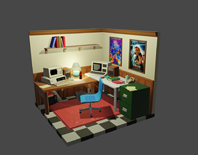 1980s Low Poly Home Office Model Pack 3D asset
