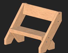 3D model Cartoon wooden bench 4