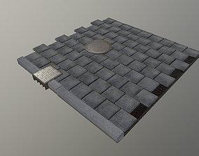 3D model Pedestrian Sidewalk and Curbs Kit
