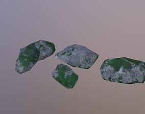 3D asset Low Poly Mossy Rocks