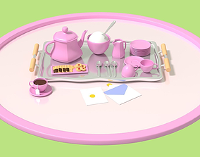 Cute Tea Party Set 3D model low-poly