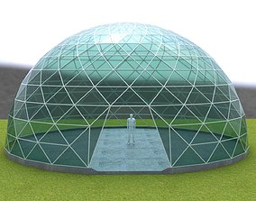 3D asset Dome triangular glass structure-panels 1