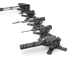 3D model Automatic turret gun PBX animated