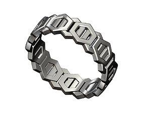 3D print model Hexagonal motif band size6to11