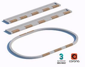 3D model concrete street benches set 02
