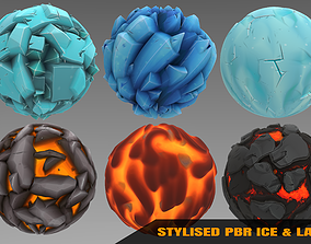 Ice and Lava - Stylised PBR Texture - Material 3D