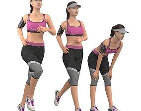 exercise Running girl 3D model