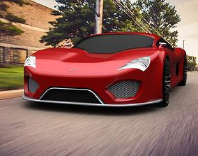 3D model animated Super car Concept