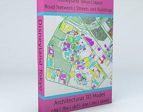 Disneyland Tokyo Road Network Buildings and 3D model