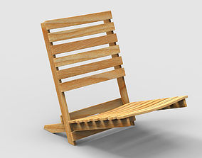 3D model Beach chair wooden