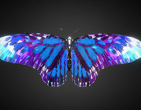 3D model Batterfly Blue Low Polygon Art Insect