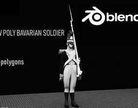3D model BAVARIA 1806 Musketeer line infantery LOW POLY 1
