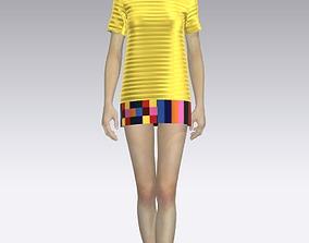 3D Girls short yellow dress