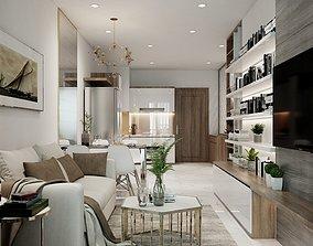 living Living Room and Kitchen Vray 3D model 3D model