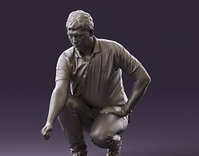 001044 man in yellow polo and shoes 3D Print Ready