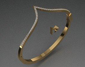 3D print model Luxury Golden Bracelet With Diamonds