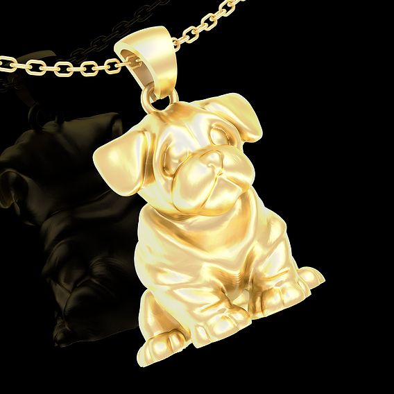 Little Dog Pendant jewelry Gold 3D print model