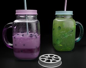 Mason jar with yogurt and mojito 3D model