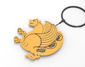 3D key ring iranian Symbols simurgh