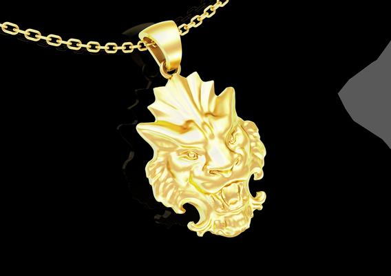 Lion head pattern pendant jewelry gold necklace 3D print model