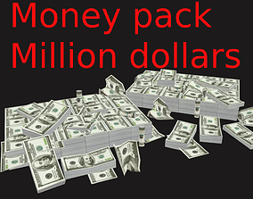 Low poly money pack million dollars for price 3D asset 2