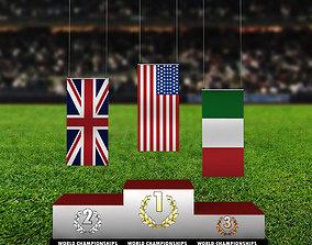 Sport podium normal flag 3D model