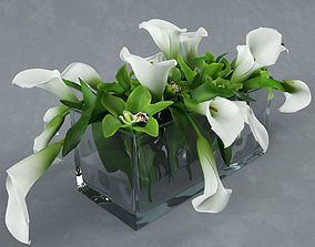 3D bouquet in glass vase