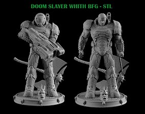 DOOM SLAYER WHITH BGF 3D printable model