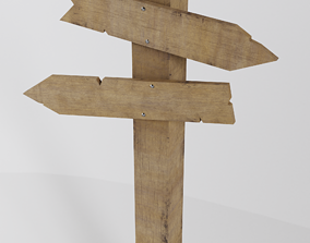 Wooden sign 3D asset low-poly