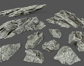3D asset rock set 3