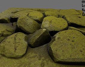 3D asset rock moss 1