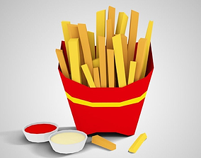 3D asset realtime Lowpoly French Fries