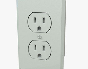 Double Plug Electrical Outlet 3D model VR / AR ready