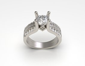 Woman Solitaire Ring 96 3D printable model