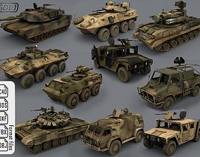 3D asset realtime 10 Army vehicles - Ready for games