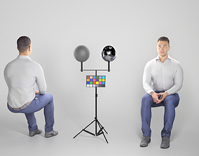 3D asset Handsome sitting man in business style 278