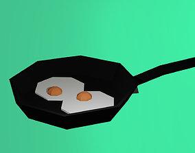 Low-poly Eggs on Pancake 3D model